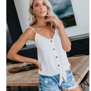 IRMA Tie Front Button Down Tank